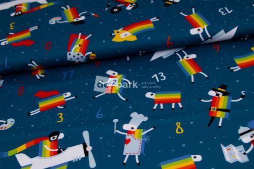 DESIGNED BY DE-PARK - Letní softshell - Ovečky z Déčka - tmavě modrá s hvězdami