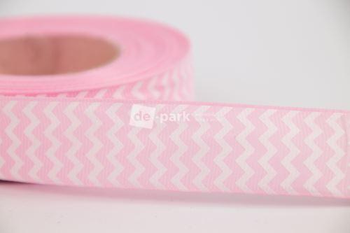 Rypsová stuha - cikcak - světle růžová